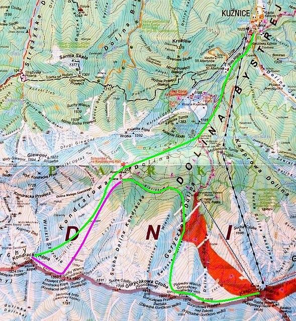 mapa zjazdu z Kasprowego i podejścia na Kopę Kondracką