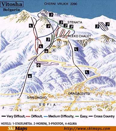 Vitosha: mapa tras
