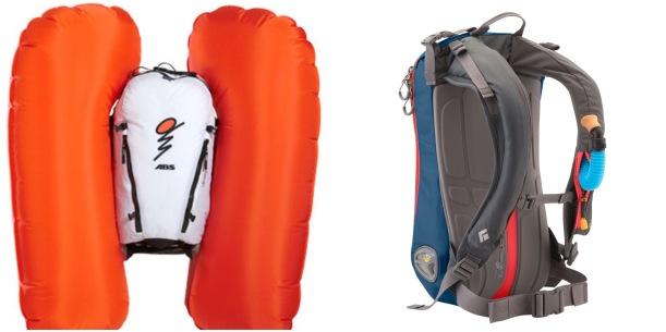 Po lewej airbag ABS z odpalonymi poduchami, po prawej Black Diamond Avalung - przy szelce widać niebieski ustnik Avalung