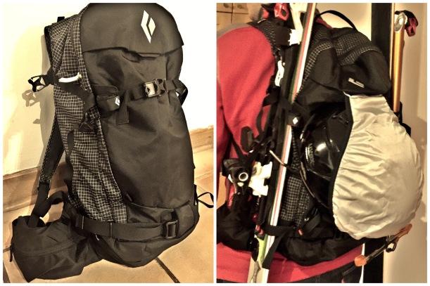 po lewej lekko wypakowany plecak, po prawej na moich plecach, wypakowany, z przyczepionymi nartami, kaskiem i czekanem